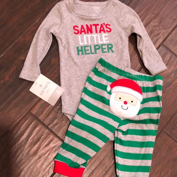 NEW Girls Carter/'s 3-6 Months Christmas Fleece Hooded Top Legging Set Santa